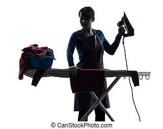 silhouette, domestica, lavori domestici, stiratura, donna