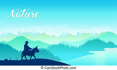 Silhouette donkey rider on mountainat sunset design. Traditional mule riders at Central Asia, Kyrgyzstan, west country background.