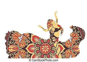 silhouette, donna ballando
