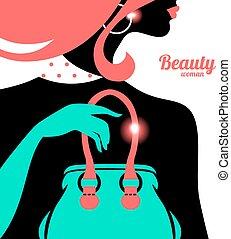 silhouette, donna, moda