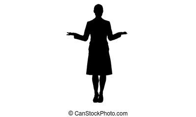 silhouette, donna stando piedi, e, parlare