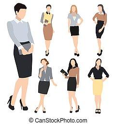 silhouette, donna, vettore, set, affari