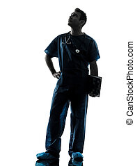 silhouette, dottore, uomo, lunghezza, pieno