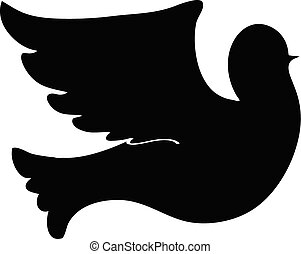 silhouette dove on white background