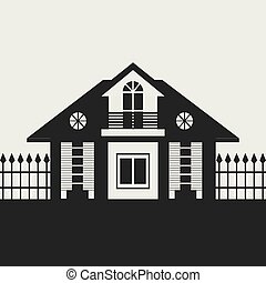 cottage - Silhouette drawing of the cottage with a fence....