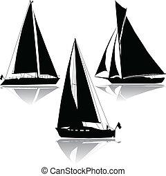 silhouette, drie, zeilend, jachtboten
