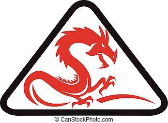 silhouette, driehoek, retro, rood, draak