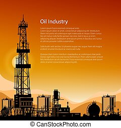 Silhouette Drilling Rigs and Text - Silhouette Oil or...