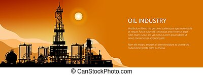 Silhouette Drilling Rigs Banner - Silhouette Oil or Natural...