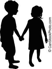 silhouette, due bambini