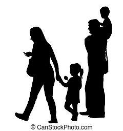 silhouette, due, famiglia, bambini