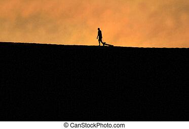 silhouette, duna, uomo