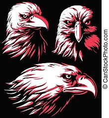 Silhouette Eagle Falcon Head Logo Vector Isolated Mascot Badge on Black and White Style