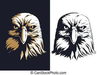 Silhouette eagle head front isolated vector logo icon illustration mascot badge