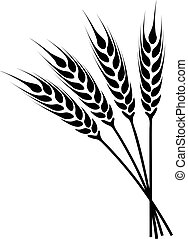 silhouette ears of wheat icon