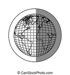 silhouette earth planet map icon