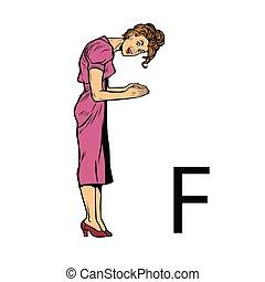 silhouette, ef., affari, f, alfabeto, persone, lettera