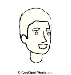 silhouette, einfache , haarschnitt, verwischt, gesicht, mann