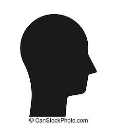 silhouette, einfache , kopf, schwarz
