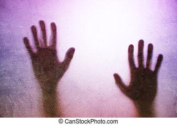 silhouette, eingeschlossen, hände zurück, person, lit, glas...