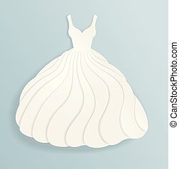silhouette, elegante, carta, matrimonio, vestito bianco