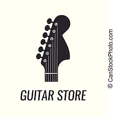 silhouette, elettrico, -, isolato, chitarra, vettore, musica, headstock, fondo, logotipo, store., bianco