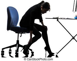 silhouette, elle, femme, masser, business, jambe