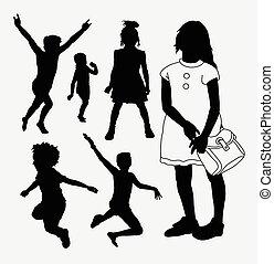 silhouette, enfants, gosse