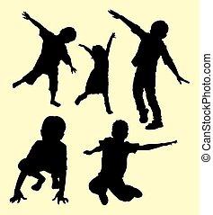 silhouette, enfants jouer