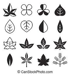 silhouette, ensemble, feuilles, vecteur, conception, icône