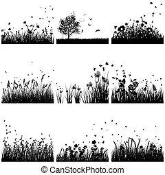 silhouette, ensemble, herbe