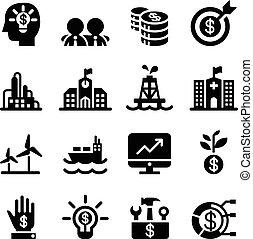 silhouette, ensemble, investissement financier, icônes