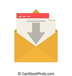 silhouette envelope open mail arrow down