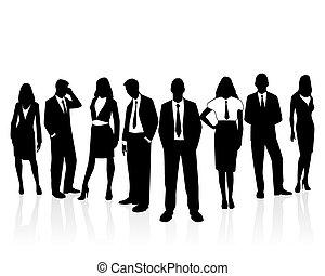 silhouette, equipe affaires