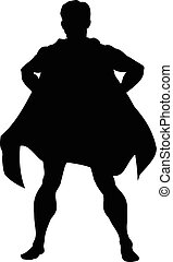 silhouette, eroe, super