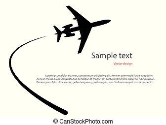 silhouette, espace, lumière, prendre, avion, text., isolé, illustration, fond, vecteur, fermé.