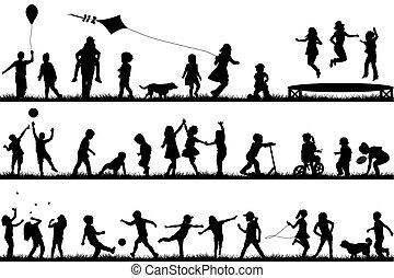 silhouette, esterno, bambini giocando