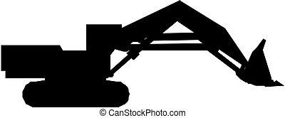 silhouette, excavateur