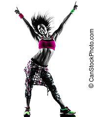 silhouette, exercices, isolé, zumba, danse, danseur, fitness, femme