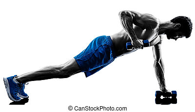silhouette, exercisme, fitness, exercices, position, planche, homme