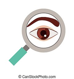 silhouette eye brown flat icon with magnifying glass