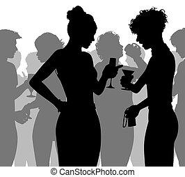 silhouette, fête, parler