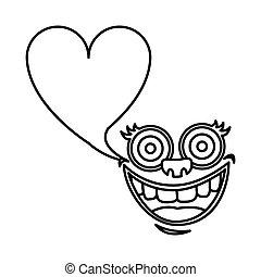 silhouette face cartoon gesture with dialog heart shape box