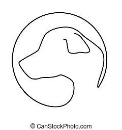silhouette face dog icon design