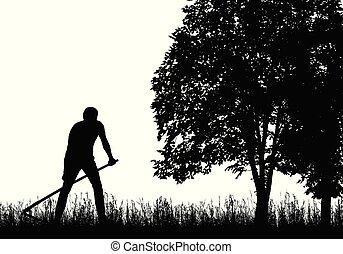 silhouette, falciatura, albero, falce, sotto, erba, uomo