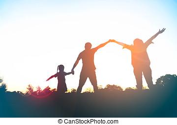 silhouette, famiglia, bagliore, parco, tramonto, padre, sole, figlia, felice