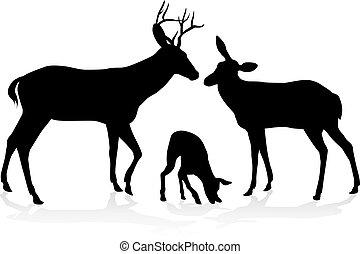 silhouette, famiglia cervo