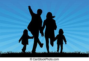 silhouette, -, famiglia, illustrazione