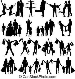 silhouette, famiglia, illustrazione, vettore