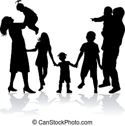 silhouette, famiglia